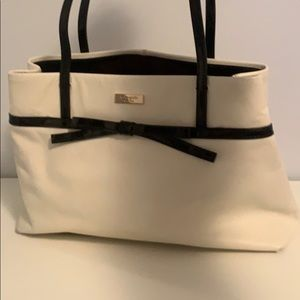 Kate Spade Black and White Tote Bag with Bow